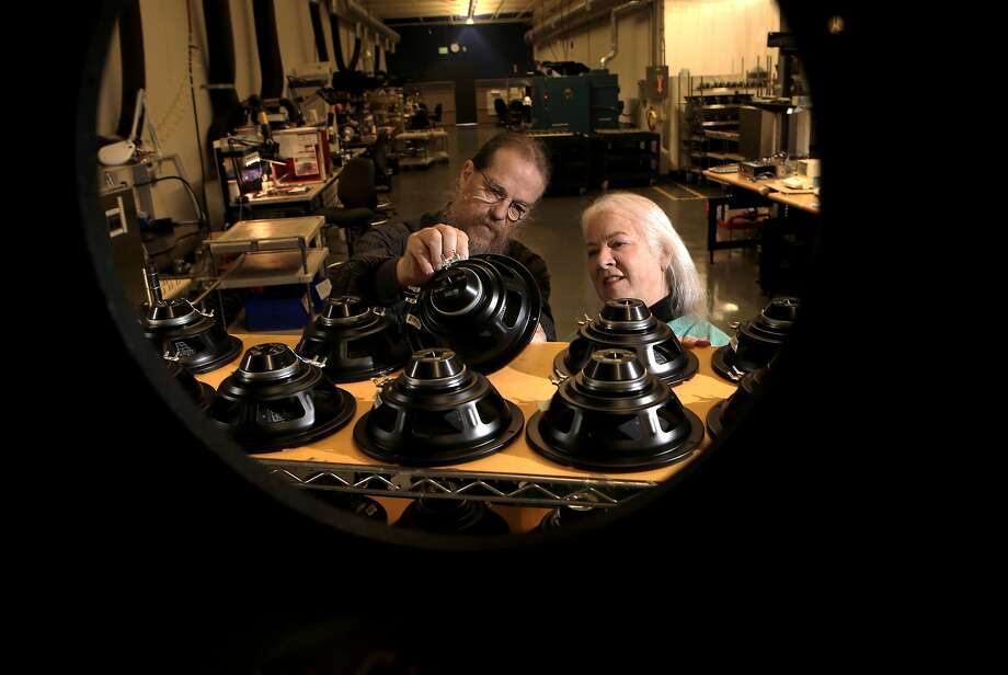 Owners John and Helen Meyer, inside the Phoebe High Driver Assembly department with speakers drivers and diaphragms, at the company headquarters for Meyer Sound Laboratories in Berkeley, Calif., on Thursday May 22, 2014. Meyer Sound Laboratories is a provider of high-quality, professional sound systems, used by Broadway shows and musicals, Cirque du Soleil productions and other major events. Photo: Michael Macor, The Chronicle