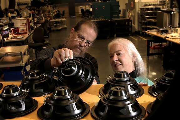 Owners John and Helen Meyer, inside the Phoebe High Driver Assembly department with speakers drivers and diaphragms, at the company headquarters for Meyer Sound Laboratories in Berkeley, Calif., on Thursday May 22, 2014. Meyer Sound Laboratories is a provider of high-quality, professional sound systems, used by Broadway shows and musicals, Cirque du Soleil productions and other major events.