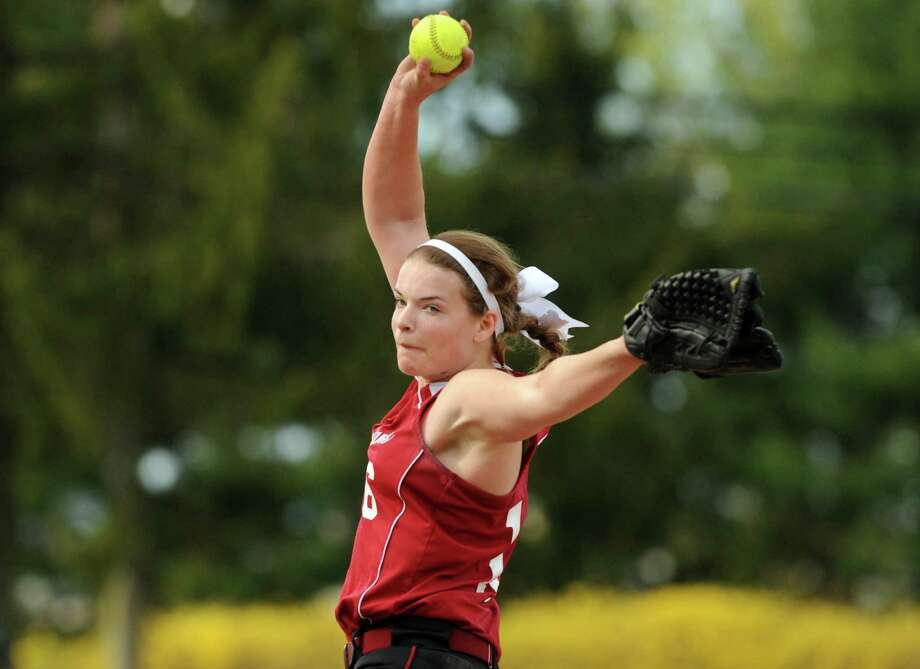 Scotia's Jen Mayette pitches during their girl's high school softball game against Queensbury on Wednesday May 7, 2014 in Scotia, N.Y. (Michael P. Farrell/Times Union) Photo: Michael P. Farrell / 00026755A