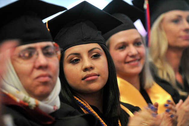 Wendy Chum, of Norwalk, looks on during the Norwalk Community College commencement ceremony at the community college in Norwalk, Conn., on Thursday, May 22, 2014. Photo: Jason Rearick / Stamford Advocate