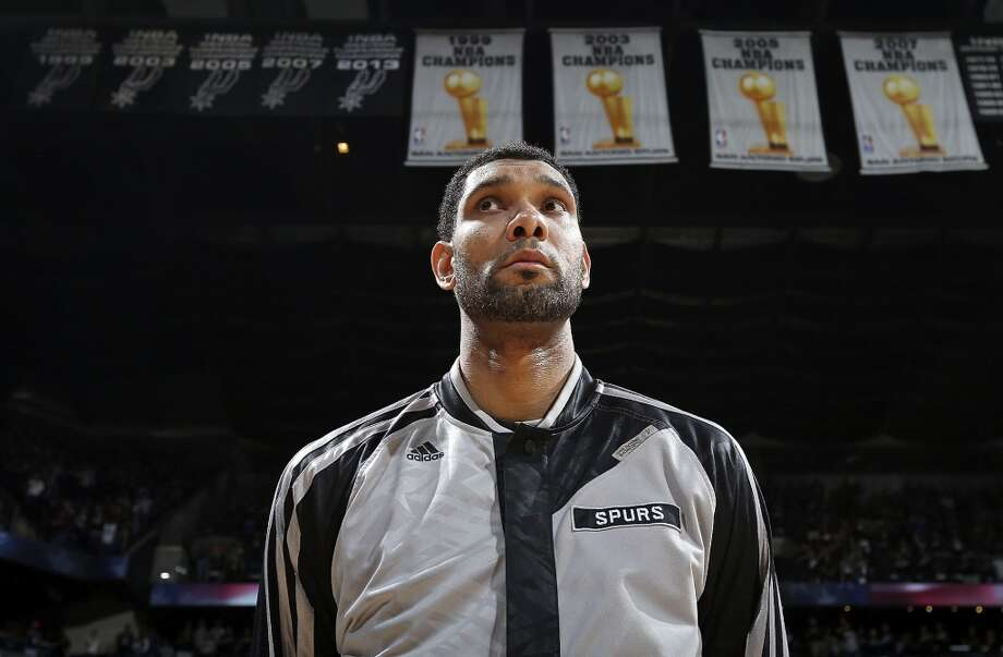 San Antonio Spurs' Tim Duncan stands during the national anthem before Game 1 in the Western Conference Finals against the Oklahoma City Thunder Monday May 19, 2014 at the AT&T Center. Photo: Edward A. Ornelas, San Antonio Express-News