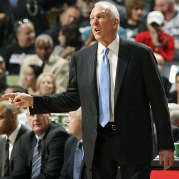 San Antonio Spurs head coach Gregg Popovich calls a play during first half action of Game 2 in the Western Conference Finals against the Oklahoma City Thunder Wednesday May 21, 2014 at the AT&T Center. Photo: Edward A. Ornelas, San Antonio Express-News