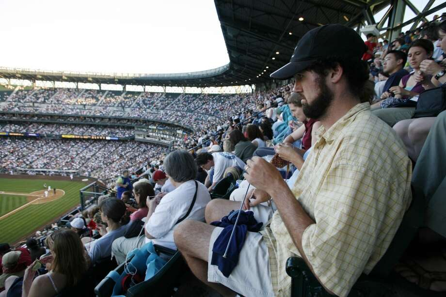 Stitch 'n' Pitch Night  First held at Safeco Field on July 28, 2005, this is another promotion you'll now see at other ballparks across the country. On Stitch 'n' Pitch Nights, fans are encouraged to bring their knitting and crocheting supplies to the ballpark, where they can get discounted tickets and sit in a special knitting section. They can even find samples, patterns and kits on hand from local yarn shops. This year's Stitch 'n' Pitch Night is scheduled for July 24, when the Mariners host the Baltimore Orioles. Photo: Courtesy Image, Seattle Mariners