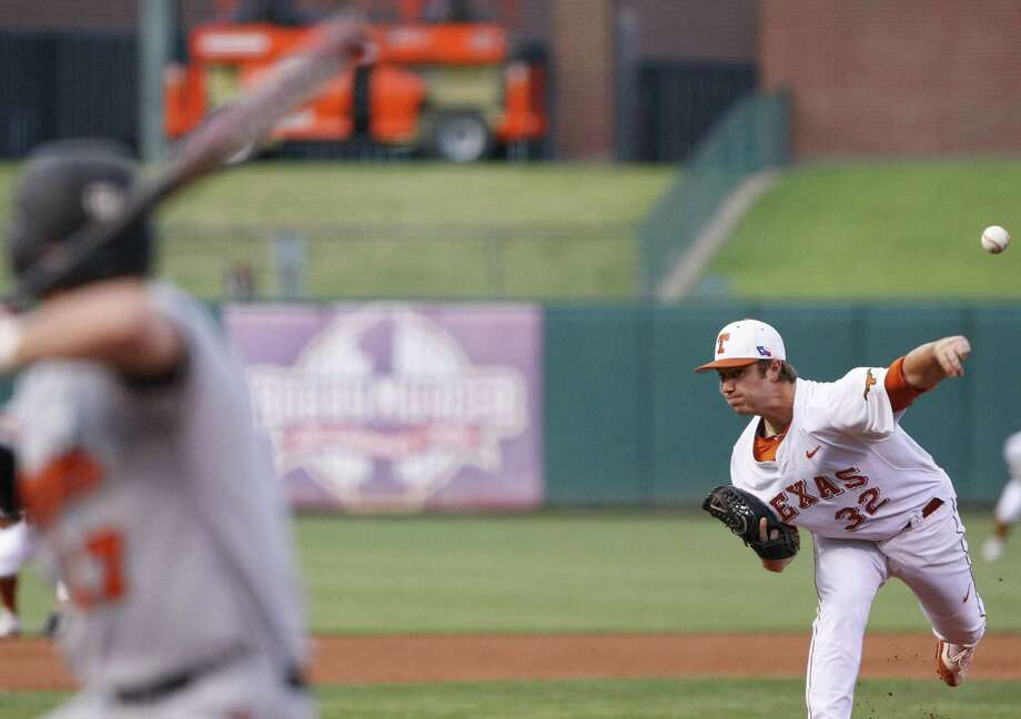 Dillon Peters allowed only four hits in five innings as the Longhorns' starter, then Parker French yielded just one hit in the final four innings. Photo: Alonzo Adams / Associated Press / FR159426 AP