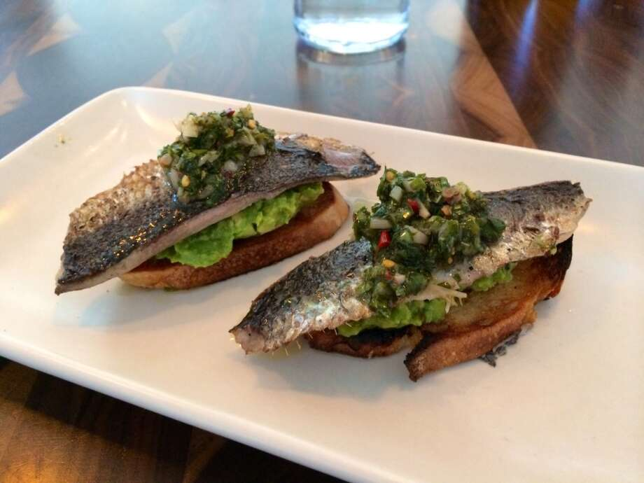 Molina, Mill Valley: Local sardines on garlic toast with crushed avocado, pickled ramp salsa and mint ($13)