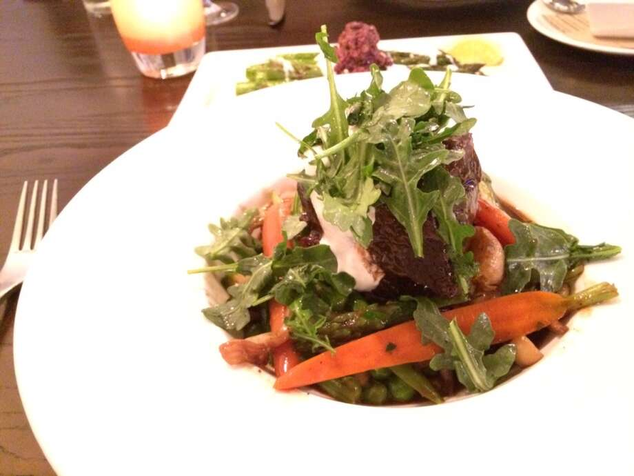 Cooperage, Lafayette: Slow-braised beef short ribs, pot- roast style, with mashed potatoes, carrots, asparagus, arugula and horseradish cream ($24)