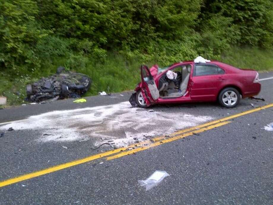 The Washington State Patrol sent out this photo of the deadly crash on the North Cascades Highway.