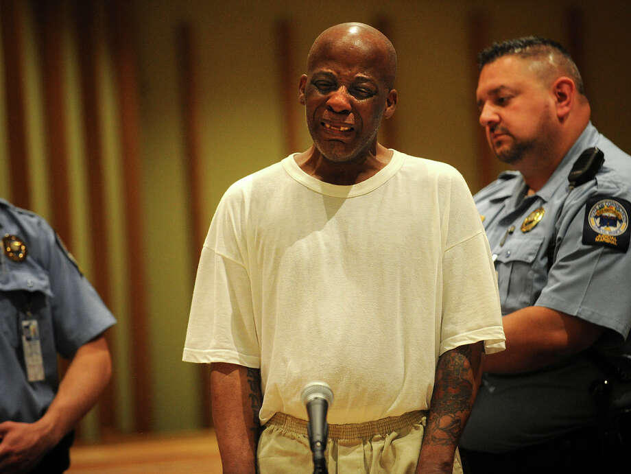 "Brian A. Pound's photo, ""Anguished sentencing,"" took first place in the news photo category for newspapers above 40,000 circulation in the annual SPJ Contest. Cargil Nicholson weeps while giving a statement during his sentencing in the stabbing death of his Bridgeport neighbor, James Cleary, at Superior Court in Bridgeport, Conn on Thursday June 6, 2013. Nicholson received the maximum sentence of twenty years in prison. Photo: Brian A. Pounds / Connecticut Post"