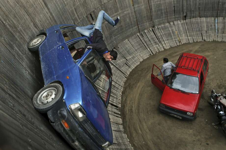 The scariest part is when he starts texting: A stuntman drives a car while 