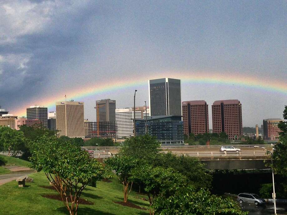 A rainbow forms over the skyline of Richmond, Va., after a storm blew through, causing tornado warnings. Photo: Bill McKelway, Associated Press