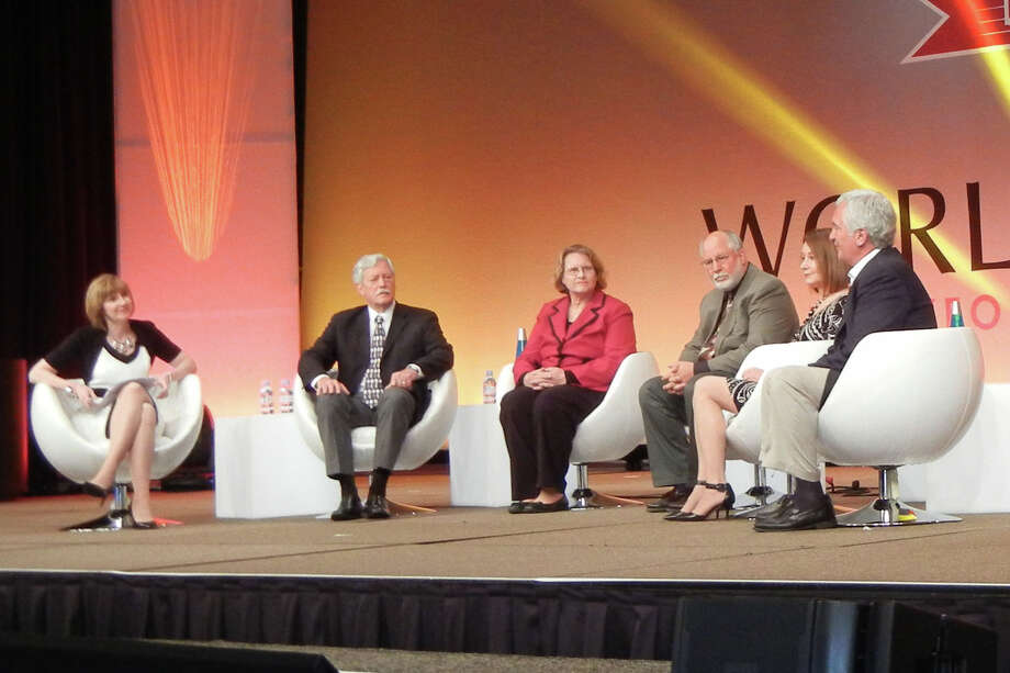 At the event were (left to right) Peggy Smith, Arnold M. Schwartz, May Caffi, Kevin J. Lanagan, Beth Archibald and Joseph V. Benevides Jr.