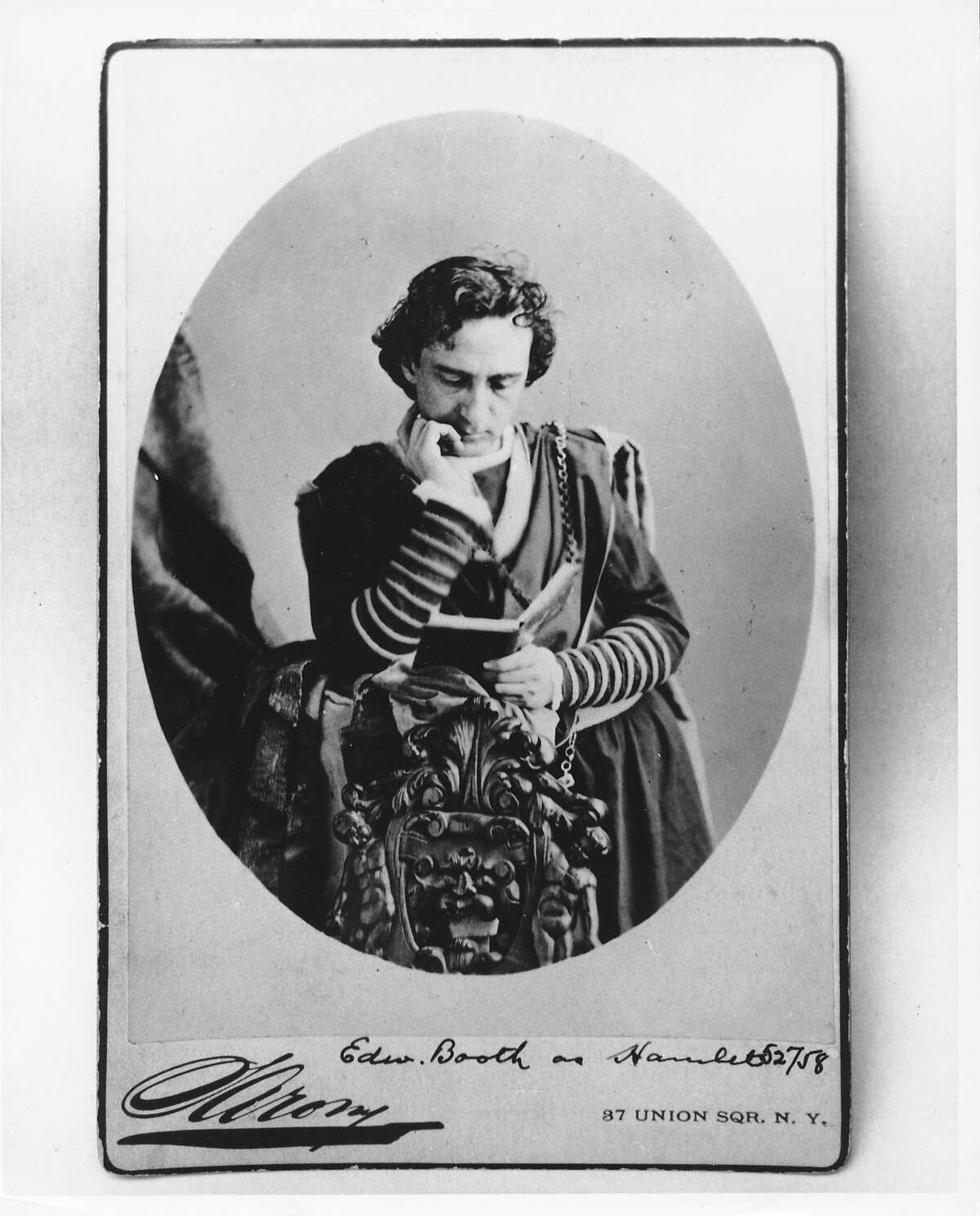 Edwin Booth as Hamlet Back of photo says another photograph from Cal-Pictures