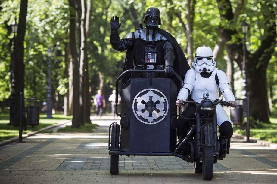 Kiev's mayoral candidate for the Internet Party, 'Darth Vader' arrives to speak to the media on Volodymyrska Hill on May 22, 2014 in Kiev, Ukraine. Ukraine's Presidential elections are to be held on Sunday 25 May. Photo: Getty Images
