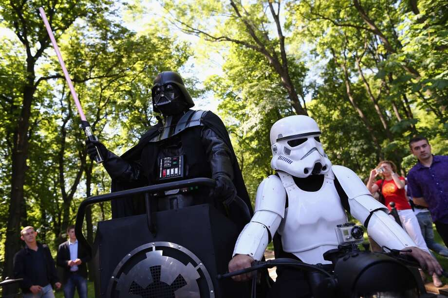 Kiev's mayoral candidate for the Internet Party, 'Darth Vader' arrives to speak to the media on Volodymyrska Hill on May 22, 2014 in Kiev, Ukraine. Ukraine's Presidential elections are to be held on Sunday 25 May, 2014. Photo: Getty Images