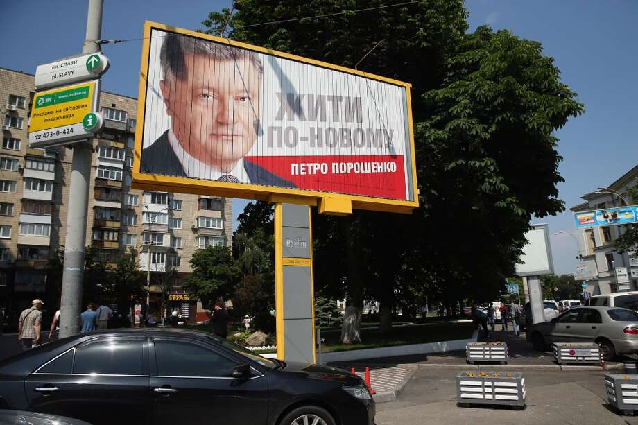 A billboard promoting presidential candidate Petro Poroshenko stands on May 21, 2014 in Kiev, Ukraine. Ukraine's Presidential elections are to be held on Sunday 25 May, 2014. Photo: Getty Images