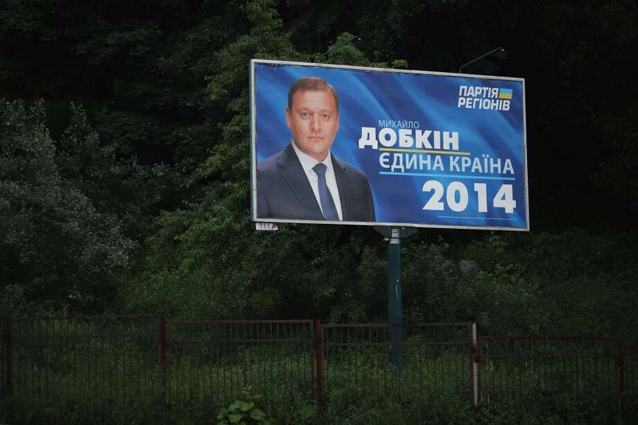A billboard promoting presidential candidate Markovych Dobkin stands on May 21, 2014 in Kiev, Ukraine. Ukraine's Presidential elections are due to be held on May 25, 2014. Photo: Getty Images
