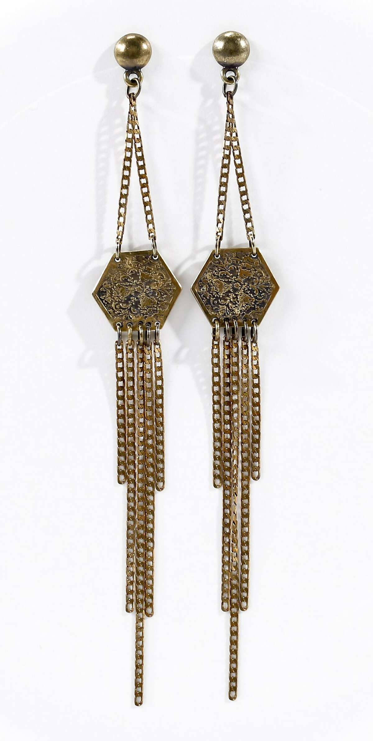 Earrings by Annachich Jewelry is seen on Friday, May 16, 2014 in San Francisco, Calif.
