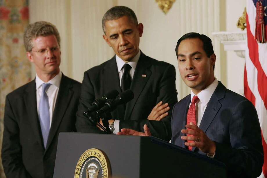 WASHINGTON, DC - MAY 23:  San Antonio, Texas, Mayor Julian Castro (R) delivers remarks after U.S. President Barack Obama (C) announcee his nomination of Castro to lead the Department of Housing and Urban Development and Shaun Donovan (L) as the nominee to head the Office of Management and Budget in the State Dining Room at the White House May 23, 2014 in Washington, DC. If confirmed, Castro would be replacing Donovan at HUD. Photo: Chip Somodevilla, Getty Images / 2014 Getty Images