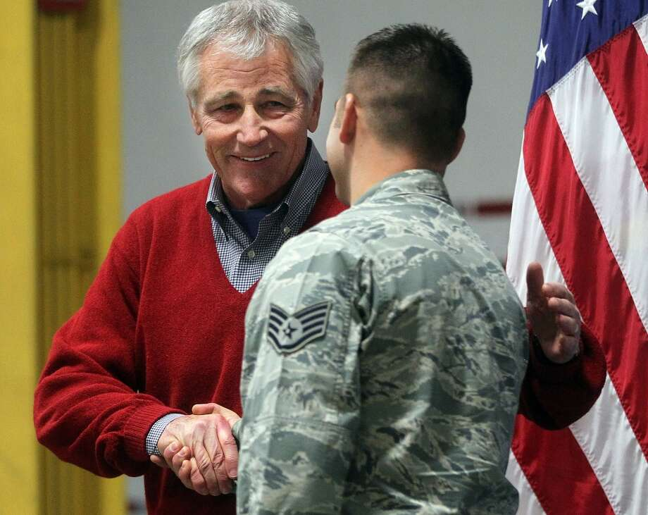 1. Wyoming. Pictured: Defense Secretary Chuck Hagel greets an airman from the 20th Air Force 90th Missile Wing during a trip to F.E. Warren Air Force Base on Jan. 9, 2014 in Cheyenne, Wyoming. Photo: Michael Smith, Associated Press