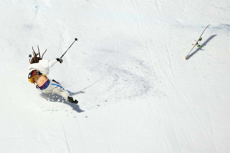 Henrik Harlaut of Sweden falls while competing in the Freestyle Skiing Men's Ski Slopestyle Qualification during day six of the Sochi 2014 Winter Olympics at Rosa Khutor Extreme Park on Feb. 13, 2014 in Sochi, Russia.  (Photo by Al Bello/Getty Images) Photo: Al Bello, Getty Images