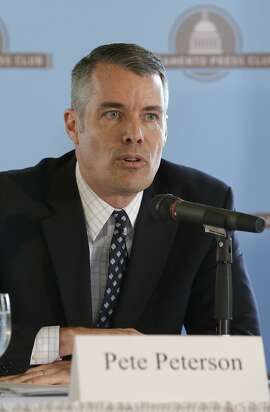 Republican Pete Peterson, a candidate for Secretary of State, responds to a question during a candidates debate held by the Sacramento Press Club in Sacramento, Calif.,  Wednesday, April 23, 2014. Peterson faced off against Democrats Derek Cressman, state Sen. Alex Padilla, D-Los Angeles and Dan Schnur, a USC professor running as an independent.(AP Photo/Rich Pedroncelli)