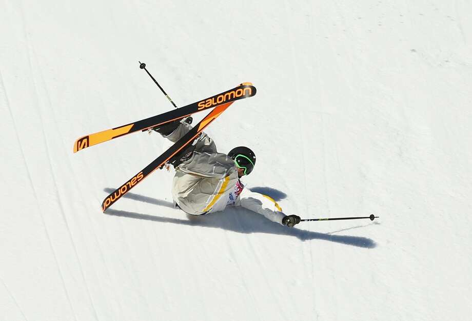 Oscar Wester of Sweden falls while competing in the Freestyle Skiing Men's Ski Slopestyle Qualification during day six of the Sochi 2014 Winter Olympics at Rosa Khutor Extreme Park on February 13, 2014 in Sochi, Russia.  (Photo by Al Bello/Getty Images) Photo: Al Bello, Getty Images