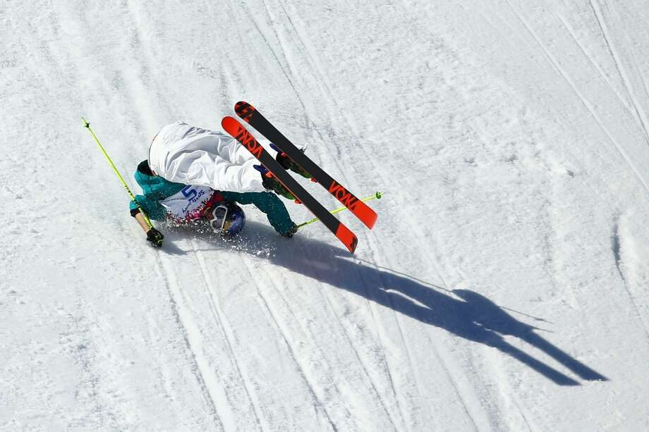 Russell Henshaw of Australia falls while competing in the Freestyle Skiing Men's Ski Slopestyle Finals during day six of the Sochi 2014 Winter Olympics at Rosa Khutor Extreme Park on February 13, 2014 in Sochi, Russia.  (Photo by Al Bello/Getty Images) Photo: Al Bello, Getty Images