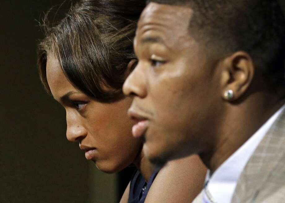 Janay Rice (left) joins husband Ray Rice in facing the media. Photo: Patrick Semansky, Associated Press