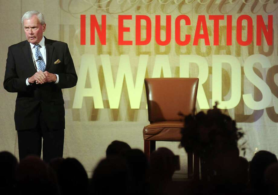 Tom Brokaw delivers the keynote address at the HEB Excellence in Education Awards dinner at the Royal Sonesta Hotel Saturday May 03, 2014.(Dave Rossman photo) Photo: Dave Rossman, Freelance / © 2014 Dave Rossman