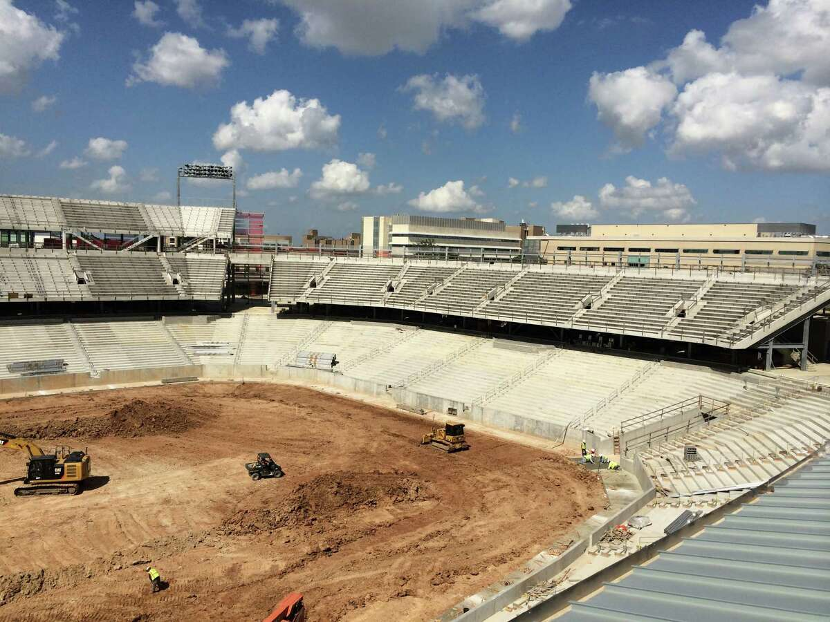 View of the east end-zone seats of UH's new football stadium.
