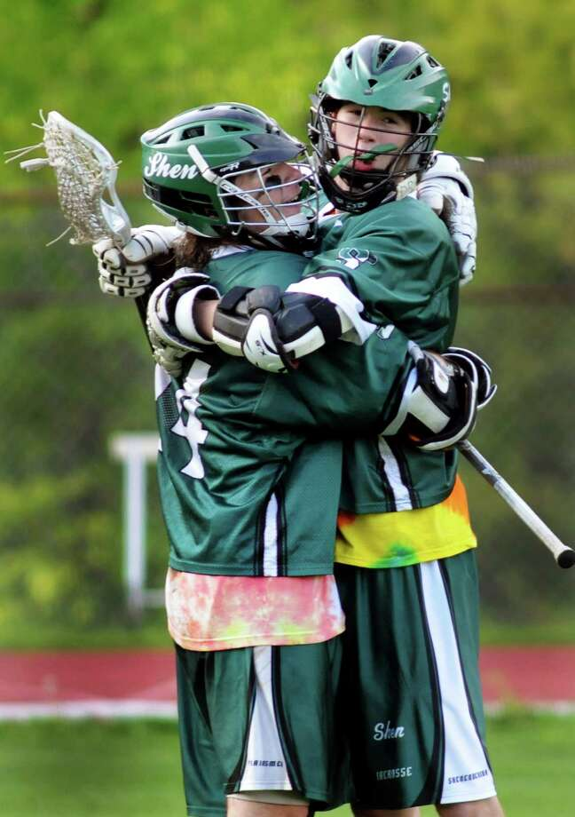 Shen's Kyle Marr, left, and Pat Coll celebrate a goal during their Section II Class A lacrosse semifinal against Ballston Spa on Friday, May 23, 2014, at Ballston Spa High in Ballston Spa, N.Y. Coll scored on an assist from Marr. (Cindy Schultz / Times Union) Photo: Cindy Schultz / 00026990A