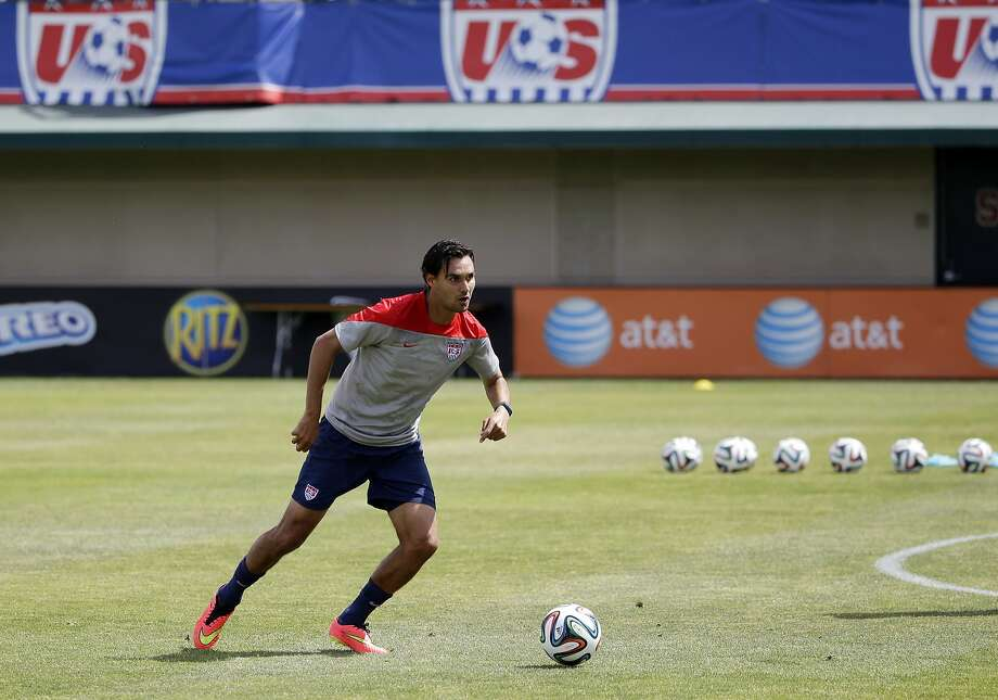 United States' Chris Wondolowski looks to pass during a training session in preparation for the World Cup soccer tournament on Friday, May 16, 2014, in Stanford, Calif. (AP Photo/Marcio Jose Sanchez) Photo: Marcio Jose Sanchez, Associated Press
