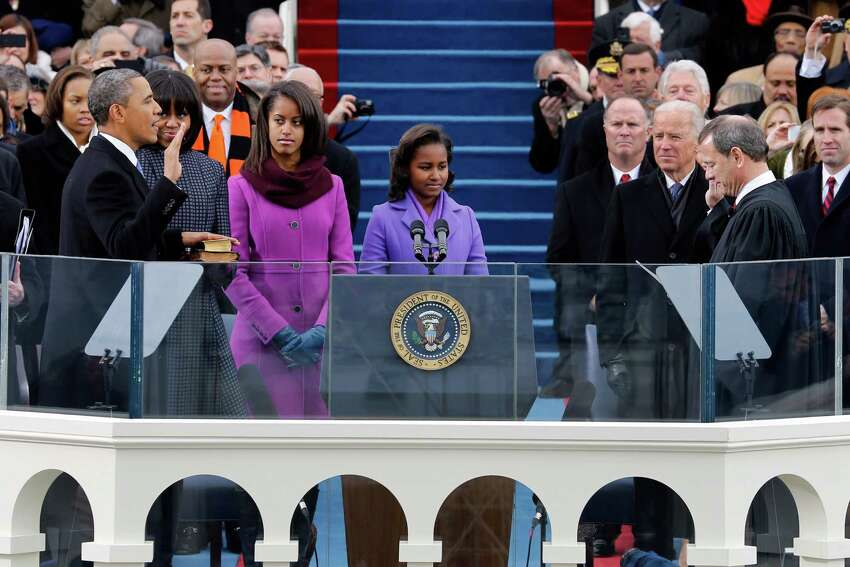 Inauguration Day (January 20) PHOTO: President Barack Obama takes the oath of office from Chief Justice John Roberts at the ceremonial swearing-in at the U.S. Capitol during the 57th Presidential Inauguration in Washington, D.C., on Jan. 21, 2013.