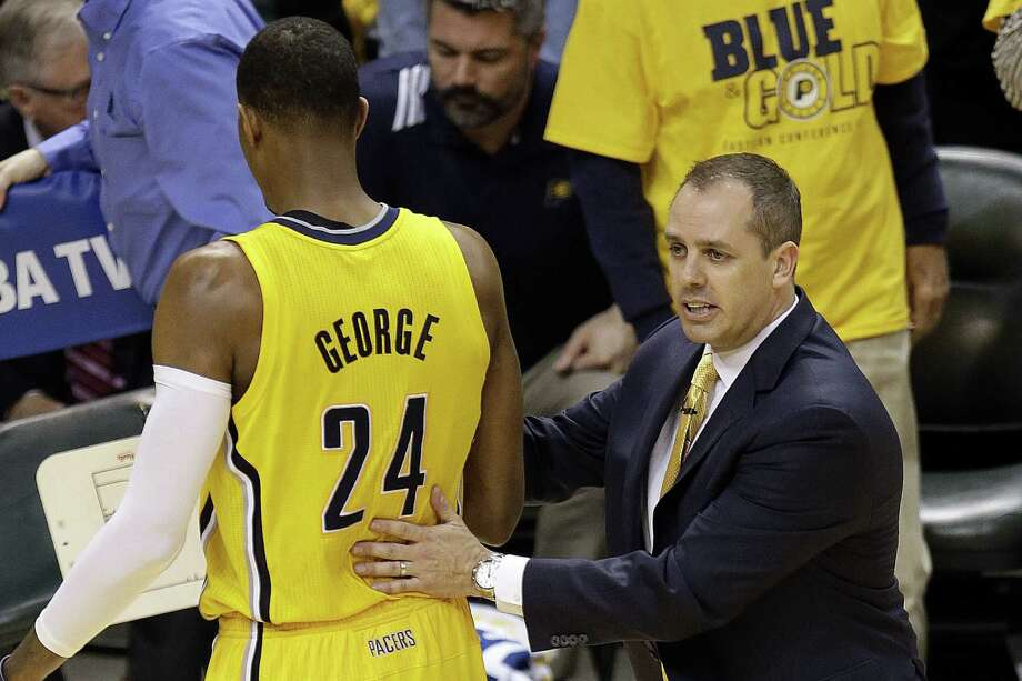Pacers coach Frank Vogel will have the services of Paul George, who suffered a concussion in Game 2. Photo: AJ Mast / Associated Press / FR123854 AP