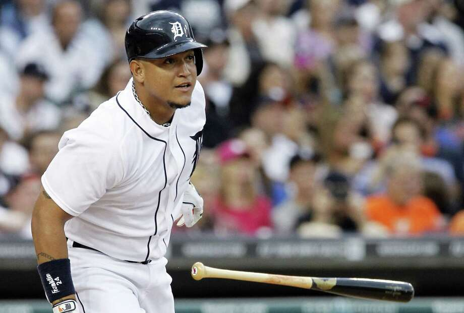 The Tigers' Miguel Cabrera watches his RBI double in the third inning that snapped a 2-2 tie. Cabrera was 1 for 3 as Detroit ended its four-game skid. Photo: Duane Burleson / Associated Press / FR38952 AP
