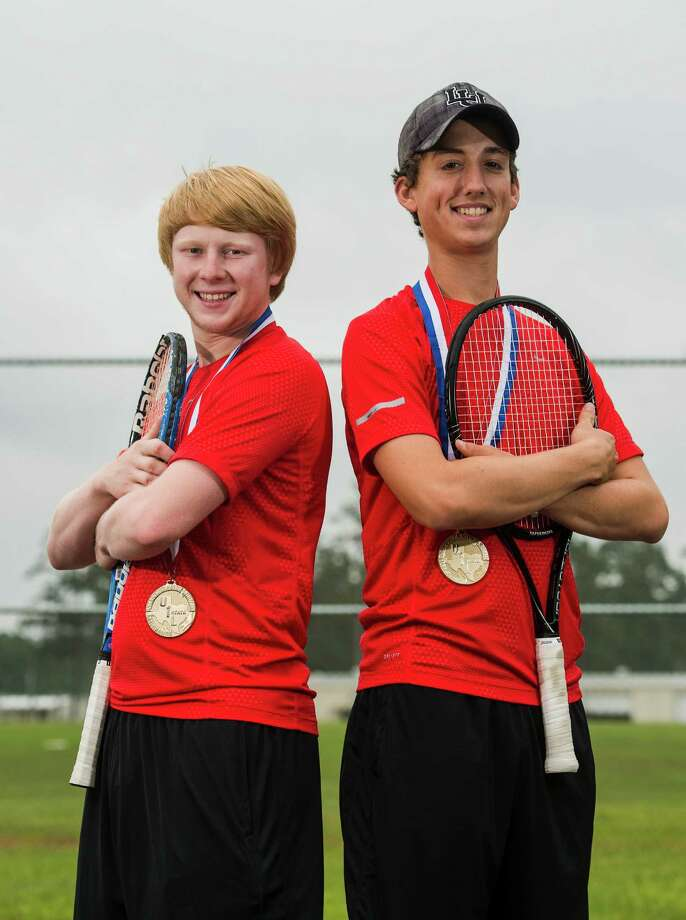 Landry Linn, left, and Drew Anderson, Kountze seniors and tennis players, brought home a state title this year. The pair have been named Super Gold Co-MVPs in tennis. Photo taken Thursday 5/8/14 Jake Daniels/@JakeD_in_SETX Photo: Jake Daniels / ©2014 The Beaumont Enterprise/Jake Daniels