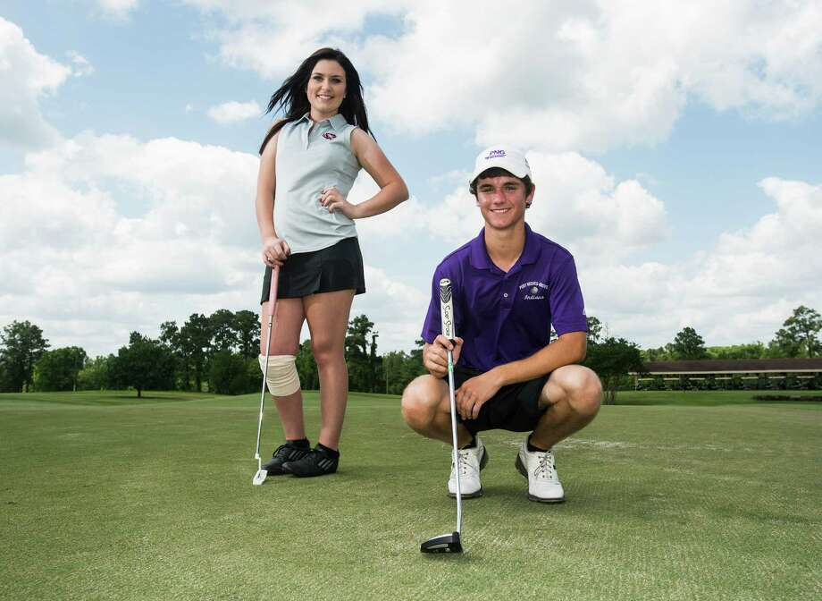 Silsbee's Allison Davis and Port Neches-Groves' Braden Bailey pose for a portrait at the Beaumont Country Club on Tuesday afternoon. Davis and Bailey are the 2014 Super Gold Girl's and Boy's Golf MVPs.  Photo taken Tuesday 5/20/14 Jake Daniels/@JakeD_in_SETX Photo: Jake Daniels / ©2014 The Beaumont Enterprise/Jake Daniels