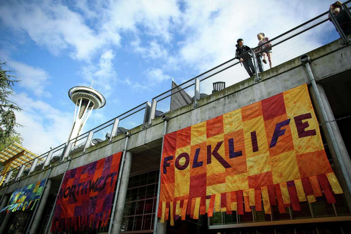Fisher Pavilion is shown during the 2014 Northwest Folklife Festival at the Seattle Center. The four-day event features cultural performances, lots of food, dancing, and of course drum circles. Photographed on Saturday, May 24, 2014.