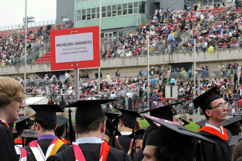 Graduates process during the Rensselaer Polytechnic Institutes 208th commencement on Saturday May 24