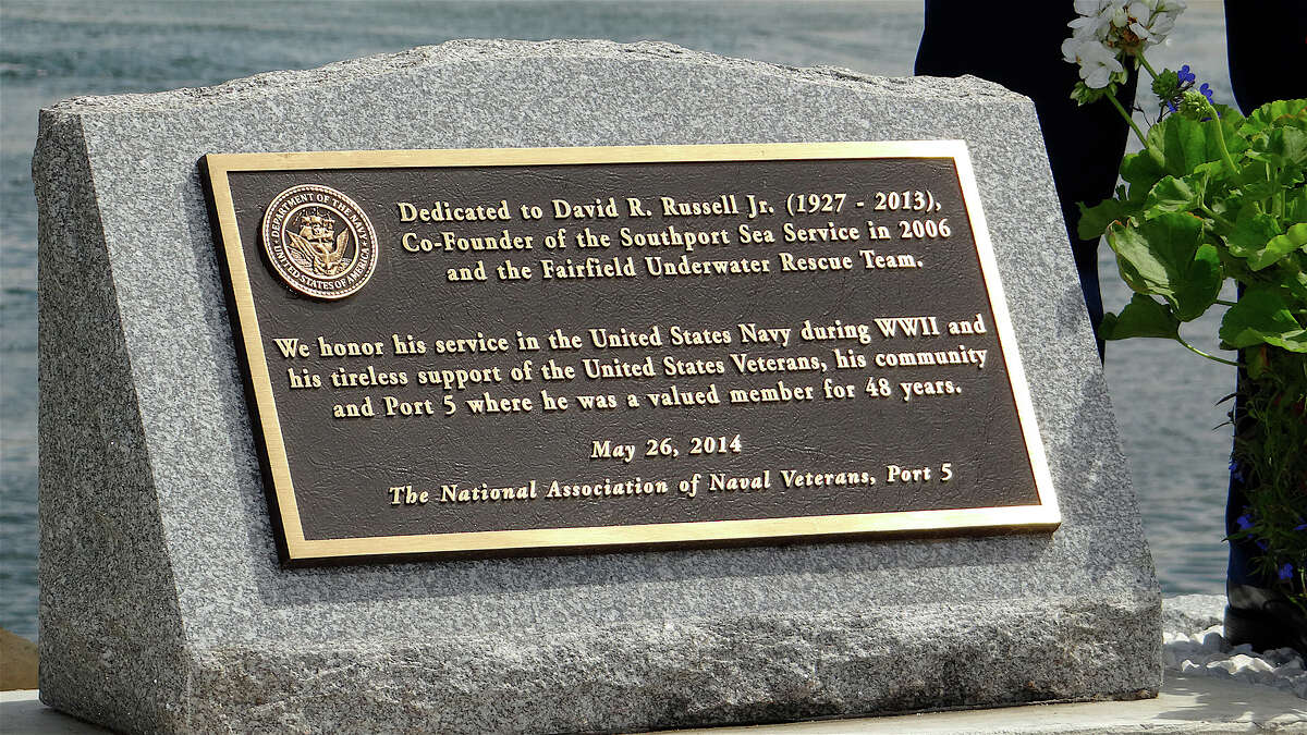 A plaque honoring the late Fire Chief David W. Russell Jr. was unveiled Saturday at the Sea Memorial Service at South Benson Marina.