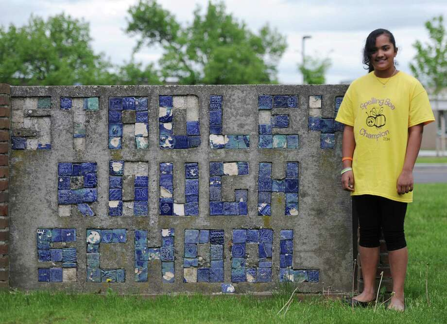 Anika Malayappan, a fifth-grade student at Stadley Rough Elementary School in Danbury, Conn., poses outside of the school Saturday, May 24, 2014.  Malayappan and Noah Fitzgerald, of Ridgefield, will compete in the Scripps National Spelling Bee in Washington, D.C. on Wednesday, May 28 and Thursday, May 29. Photo: Tyler Sizemore / The News-Times