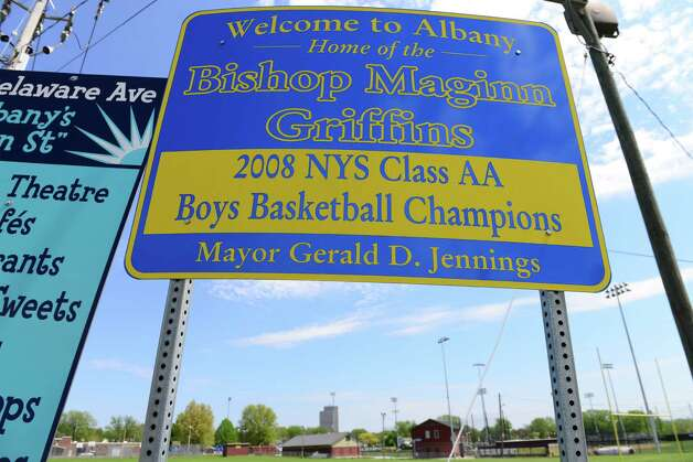 The name of former mayor Jerry Jennings is still present on a sign outside Hoffman Park in Albany. (Will Waldron/Times Union) Photo: WW