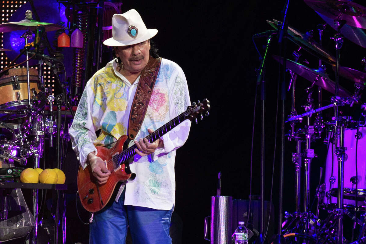 """Carlos Santana,who is celebrating 20th anniversary of """"Supernatural"""" and 50th anniversary of his performance at Woodstock, plays the Saratoga Performing Arts Center on Friday. Tickets."""