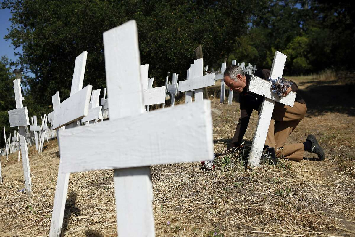 Jeff Heaton, who helped create Crosses of Lafayette war memorial, straightens up some fallen crosses at the site in Lafayette, CA, Wednesday May 21, 2014.