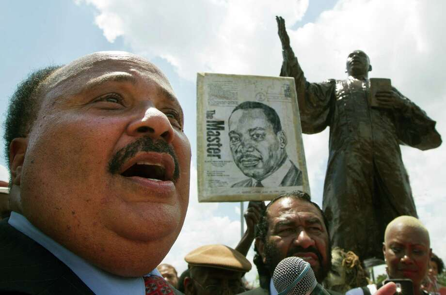 Martin Luther King III speaks during the unveiling of his father's  new statue at MacGregor Park on Saturday, May 24, 2014, in Houston. Photo: J. Patric Schneider, For The Chronicle / © 2014 Houston Chronicle