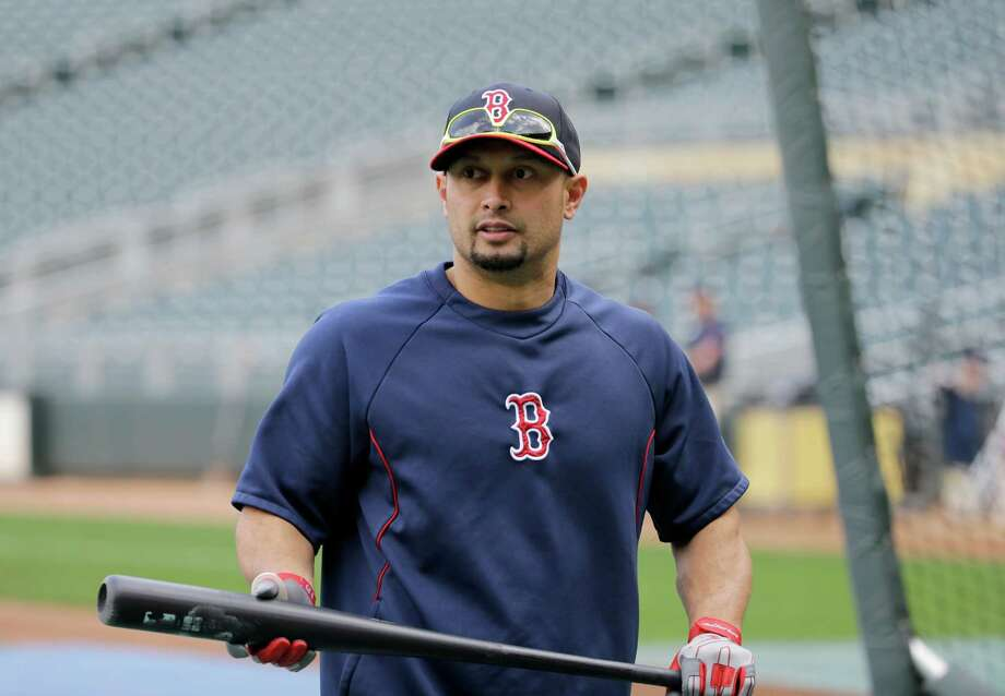 Boston Red Sox right fielder Shane Victorino walks out of the batting cage before a baseball game against the Minnesota Twins in Minneapolis, Wednesday, May 14, 2014.  (AP Photo/Ann Heisenfelt) Photo: Ann Heisenfelt, FRE / FR13069 AP