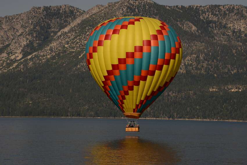 A hot-air balloon lets riders view Lake Tahoe from just above the surface ... or from nearly 10,000 feet above sea level.
