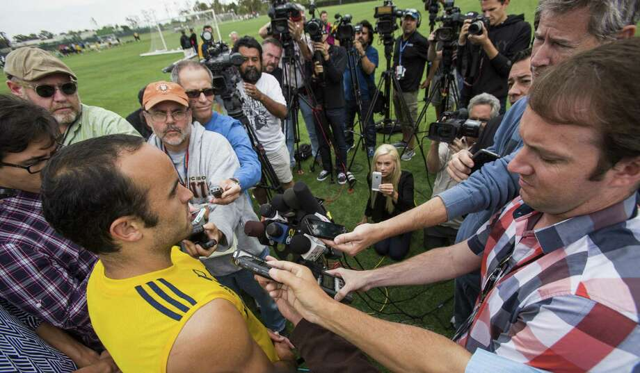 Landon Donovan, talking to the media after Galaxy practice Saturday, was shocked when told he wouldn't be in a fourth World Cup. He is the career U.S. leader with 57 international goals. Photo: Ringo H.W. Chiu / Associated Press / FR170512 AP