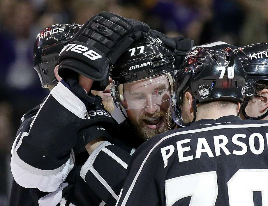 The Kings' Jeff Carter celebrates his game-tying, second-period goal with Tanner Pearson. Photo: Chris Carlson, Associated Press