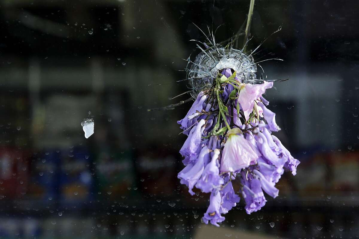 Flowers are placed through a bullet hole on a window of IV Deli Mart, where part of Friday night's mass shooting took place by a drive-by shooter, on Saturday, May 24, 2014, in Isla Vista, Calif. Sheriff's officials say Elliot Rodger, 22, went on a rampage near the University of California, Santa Barbara, stabbing three people to death at his apartment before shooting and killing three more in a crime spree through a nearby neighborhood. (AP Photo/Jae C. Hong)